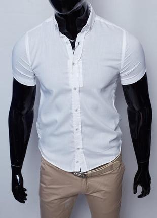 Рубашка мужская летняя figo 18023 с коротким рукавом белая