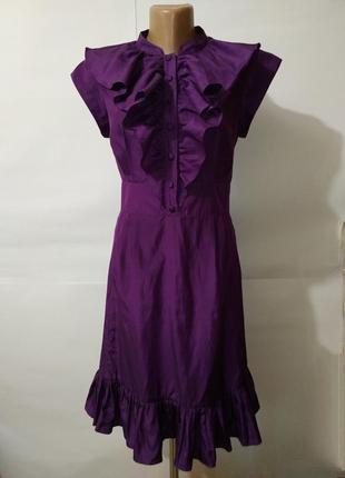 Шикарное шелковое платье рюши бант ted baker uk 10/38/s