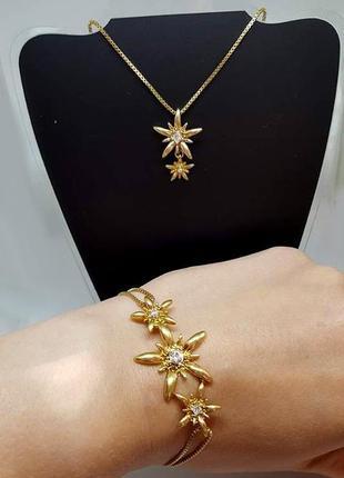 Набор: браслет и кулон на цепочке pilgrim дания элитная ювелирная бижутерия