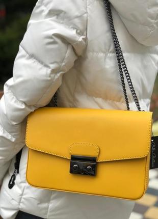 Сумка кожаная италия натуральная кожа новая жёлтая жёлтый клатч классика шкіра