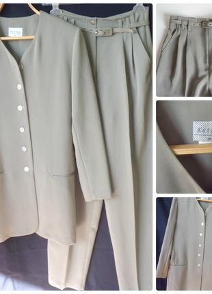 Костюм с австралии ,оливковый ,длин,пиджак и брюки katies