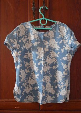 Блуза,блуза из тонкого денима,блузочка с принтом