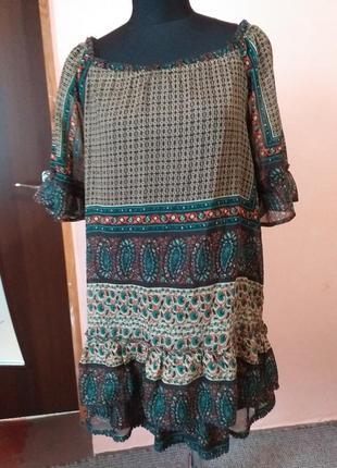 Платье туника шифоновая  в стиле бохо раз.18/2092 фото