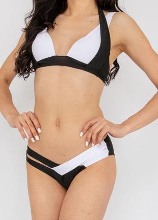 Купальник раздельный бикини  с push-up плавки слип чёрно-белый3 фото
