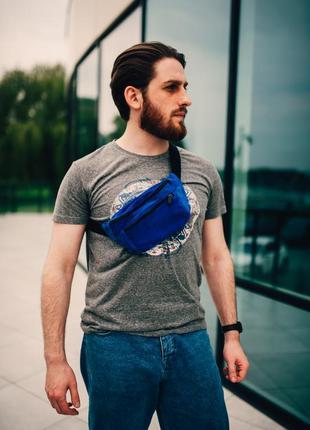 Бананка натуральная кожа.синий цвет большая сумка на пояс плече. поясная сумка. замш