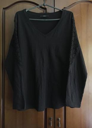 Чёрная натуральная футболка с длинным рукавом