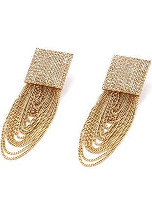 Гламурные серьги c цепями в стиле zara