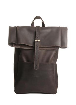 Вместительный кожаный мужской рюкзак