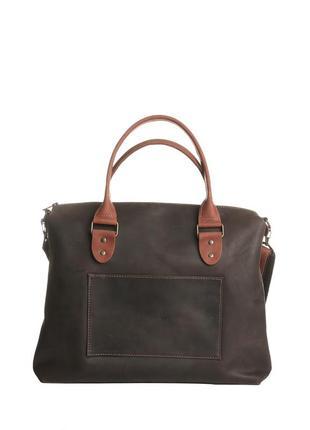 Темная сумка из натуральной кожи для мужчин
