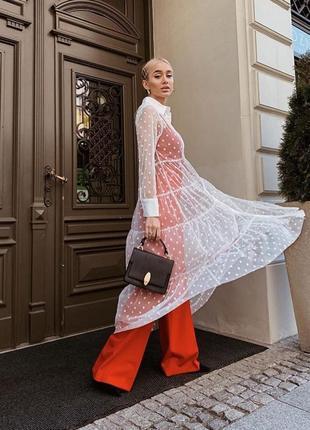Новая коллекция zara !платье рубашка в горошек