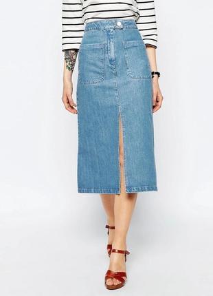 Джинсовая юбка миди asos с разрезом
