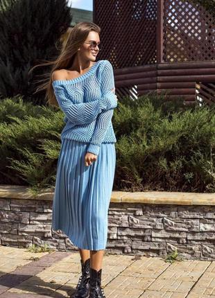 Голубая юбка плиссе плиссеровка 1+1=3 🎁