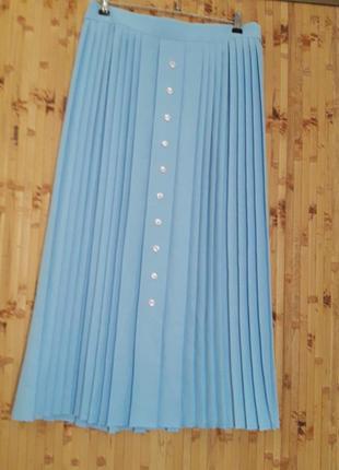 Голубая юбка плиссе плиссеровка 1+1=3 🎁2 фото