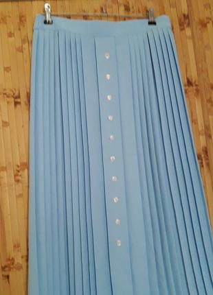 Голубая юбка плиссе плиссеровка 1+1=3 🎁3 фото
