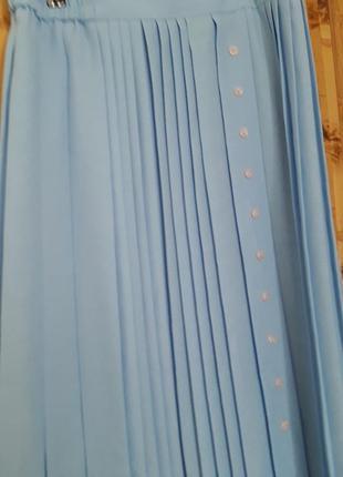Голубая юбка плиссе плиссеровка 1+1=3 🎁5 фото
