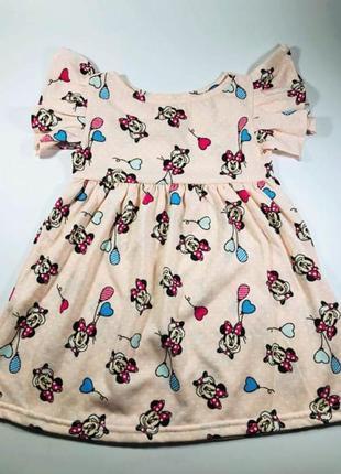 Летнее платье для девочки принт микки 100% хлопок