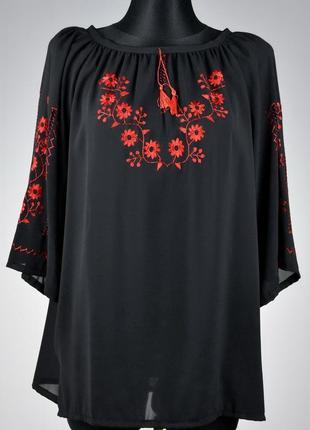 Шифонова красива вишита блузка (ручна робота)