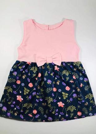 Летнее платье для девочки бантик принт цветы из 100% хлопка