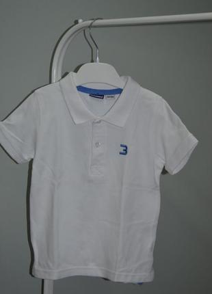 Белоснежная футболка-поло lupilu