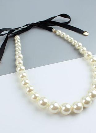 Жемчужное ожерелье, бусы с лентой