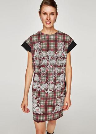 Платье новое zara стильное черное с рисунком принт цветы клетка оверсайз летнее