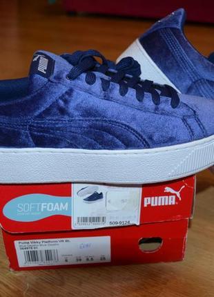Puma велюровые кеды кроссовки на платформе с технологией softfoam