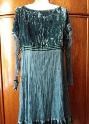 Роскошное платье с зеленого бархата велюра и воздушного фатина--14-163 фото