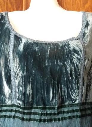 Роскошное платье с зеленого бархата велюра и воздушного фатина--14-162 фото