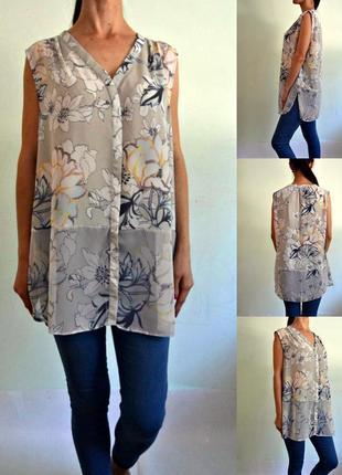 Легкая нежная блуза с шифоновой вставкой по низу 20