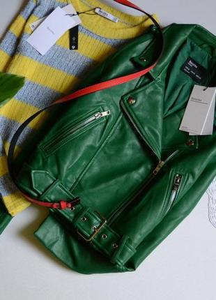 Bershka куртка косуха ізумрудного кольору