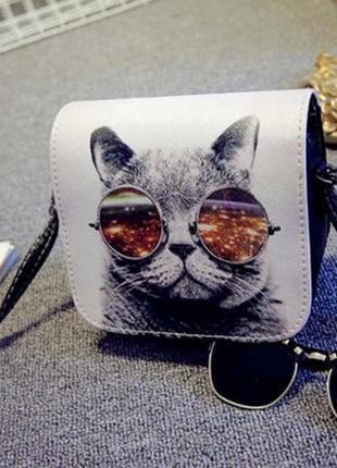 Варианты! новая крутая прочная округлая квадратная мини сумка сумочка котик кот в очках