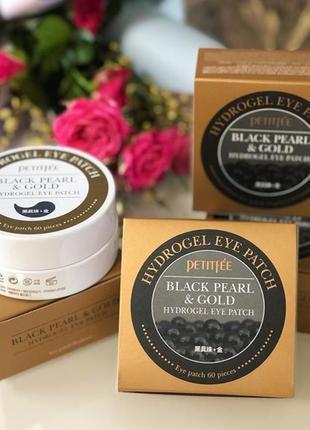 Petitfee - патчи под глаза черный жемчуг + золото (black pearl & gold), 60 шт