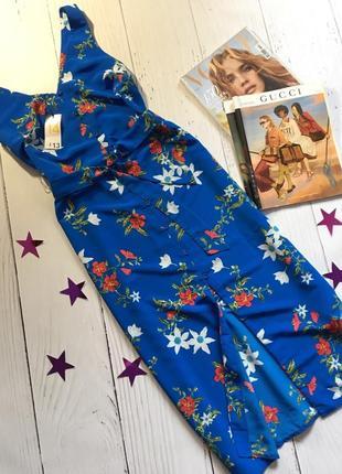 Цветочное платье рубашка миди primark