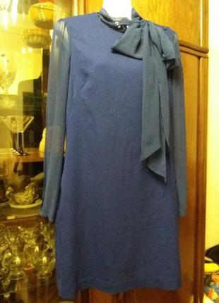 Платье с прозрачными рукавами и бантом-french connection- на 44-46р       - распродажа