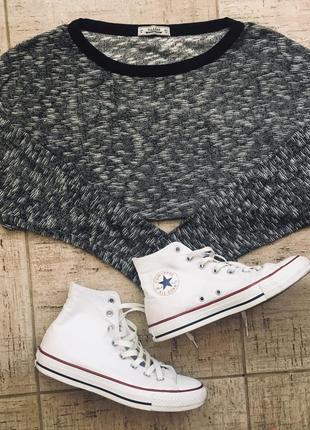 Кроп топ укороченный свитшот пайта меланж свитер кардиган свободного прямого кроя