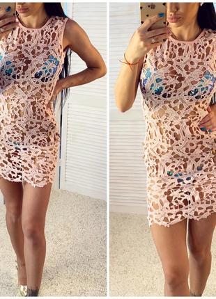 Пляжное платье кружево розовое