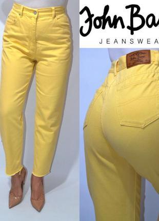 Джинсы момы желтые высокая посадка, мом mom jeans john baner.