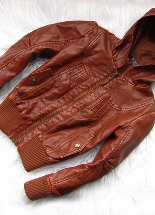 Стильная кожаная куртка  с капюшоном george