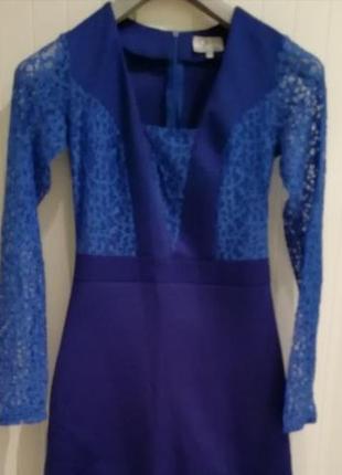 Вечернее длинное синее дизайнерское платье