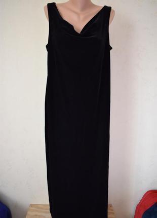 Шикарное велюровое длинное платье с украшение большого размера