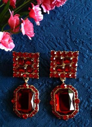 Серьги в стиле zara зара сережки красные вечерние