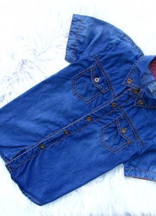 Стильная и качественная джинсовая рубашка с коротким рукавом zara