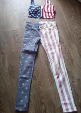 Джинсы скинни американский флаг.костюм косплей