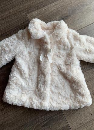 Нарядная шубка на девочку 9-12 месяцев пальто куртка кофта george