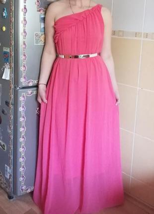 Корраловое платье в пол р.46 -48