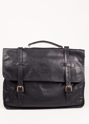 Черный кожаный портфель made in italy