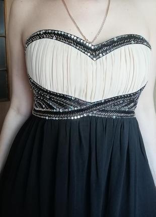 Шикарное вечернее платье с пайетками, р 12-14
