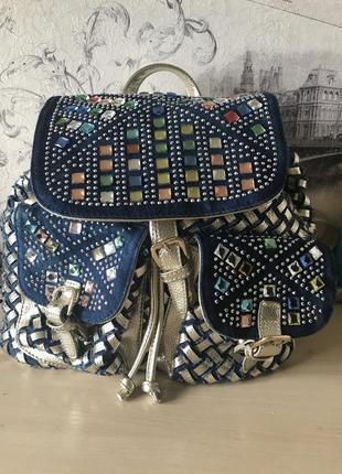 Рюкзак кожа+джинс+ камни