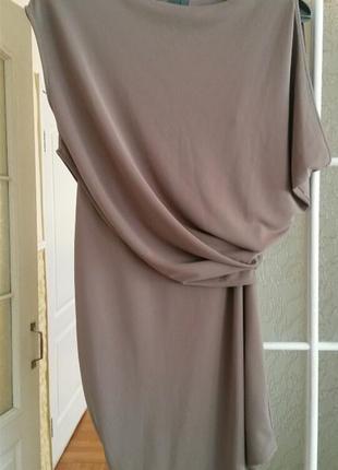 Нарядное двухслойное платье цвета кофе с молоком