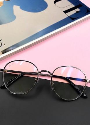 Стильные имиджевые очки раунды люкс качества с антибликовым покрытием серебро